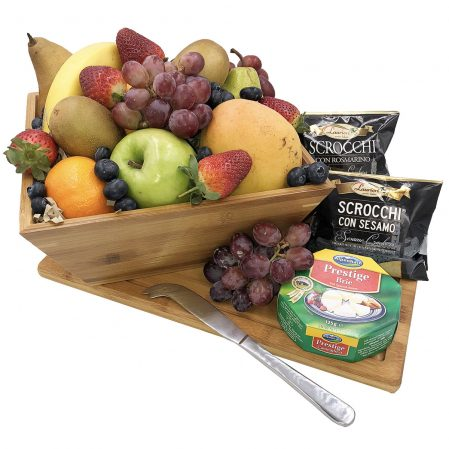 Fruit Bowl with Cheese and Cutting Board